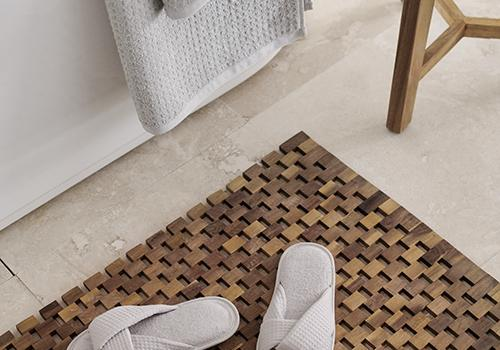 slippers and bath mat