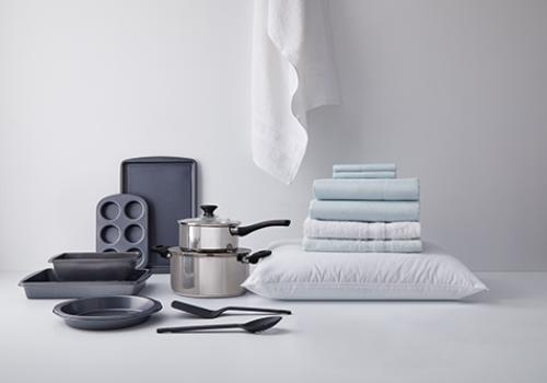 pans and towels