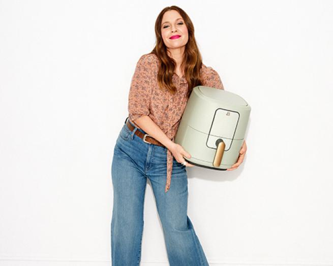 Drew Barrymore with appliance