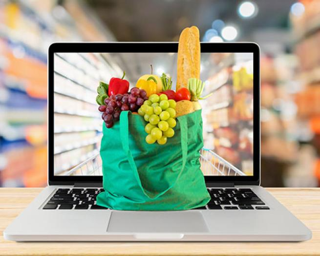 Groceries on a computer