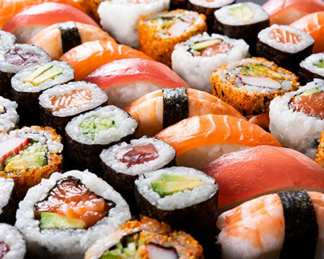 a group of sushi